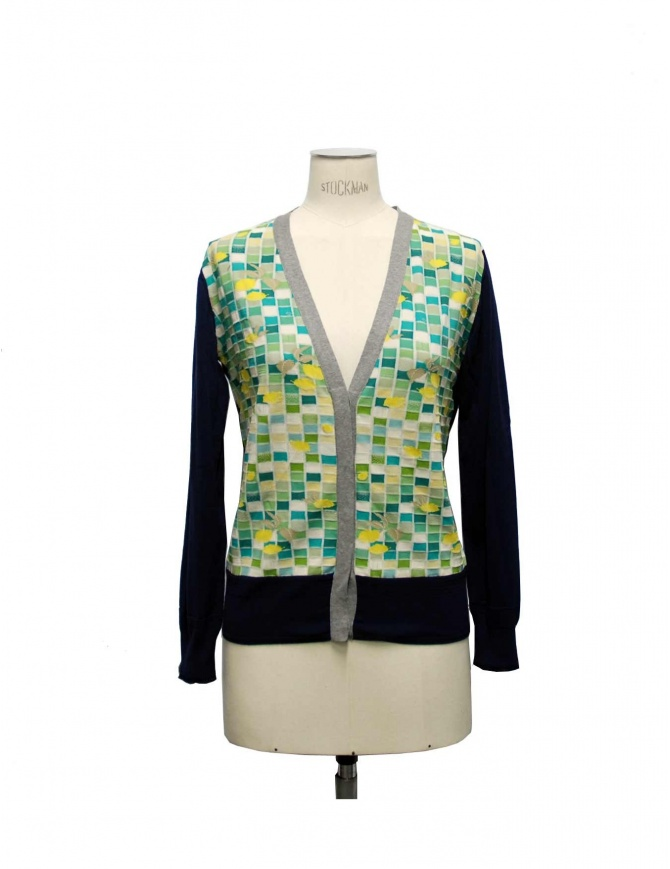 Cardigan Side Slope X Antipast colore blu e verde L081 65 cardigan donna online shopping