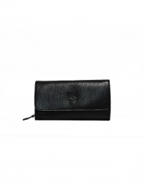 Il Bisonte Long Wallet with Zippers in Black Leather online