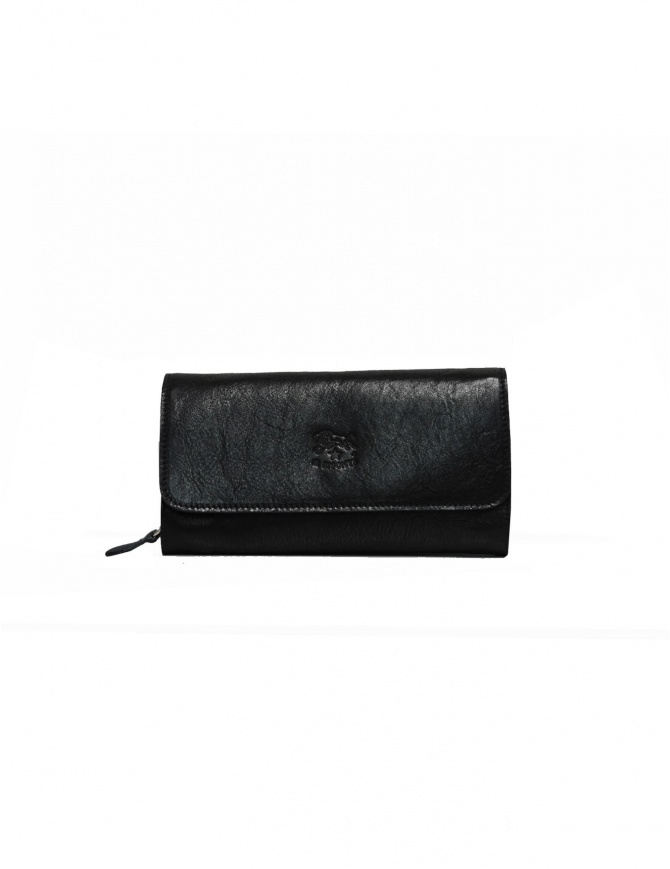 Il Bisonte Long Wallet with Zippers in Black Leather C0856..P 153NERO wallets online shopping