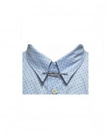 Camicia Golden Goose azzurra fantasia e colletto con spilla prezzo