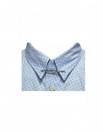 Golden Goose light blue patterned shirt with collar pin price
