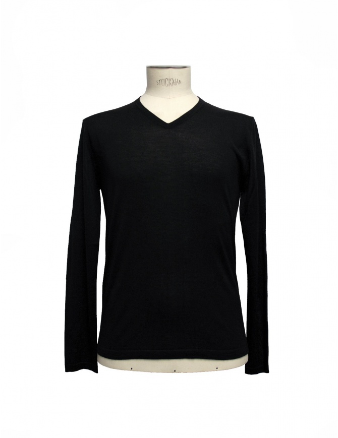 Adriano Ragni black V-neck pullover 7ARSW23PCWS23RG 7/99 mens knitwear online shopping