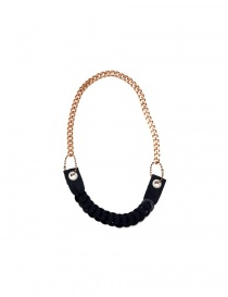 Ligia Dias necklace with pink brass chain and black washers A5 BLACK WASHERS CREAM PEARLS