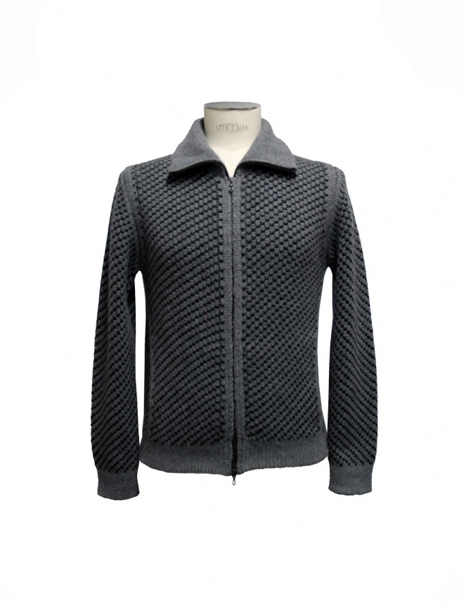 Adriano Ragni gray knit cardigan with zip 7ARJC07WA14SR 7/89 mens cardigans online shopping