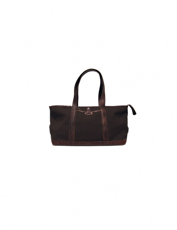 Sak canvas and leather Bag in dark brown color SAC004 MARRO bags online shopping