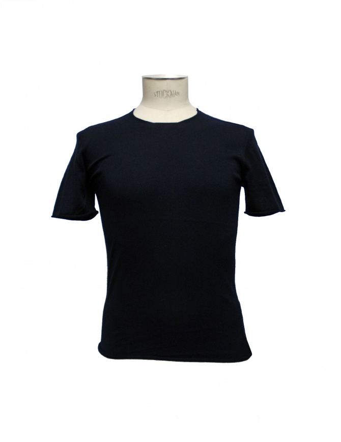 Label Under Construction navy Punched Selvedge t-shirt 25YMTS224-CO mens t shirts online shopping