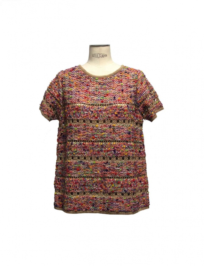 Coohem pink pullover in Yonetomi fabric 151-045-45 womens knitwear online shopping