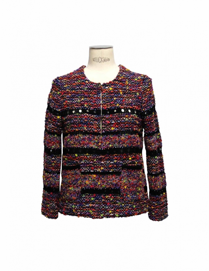Coohem purple and black pullover in Yonetomi fabric 151-044-10 womens knitwear online shopping