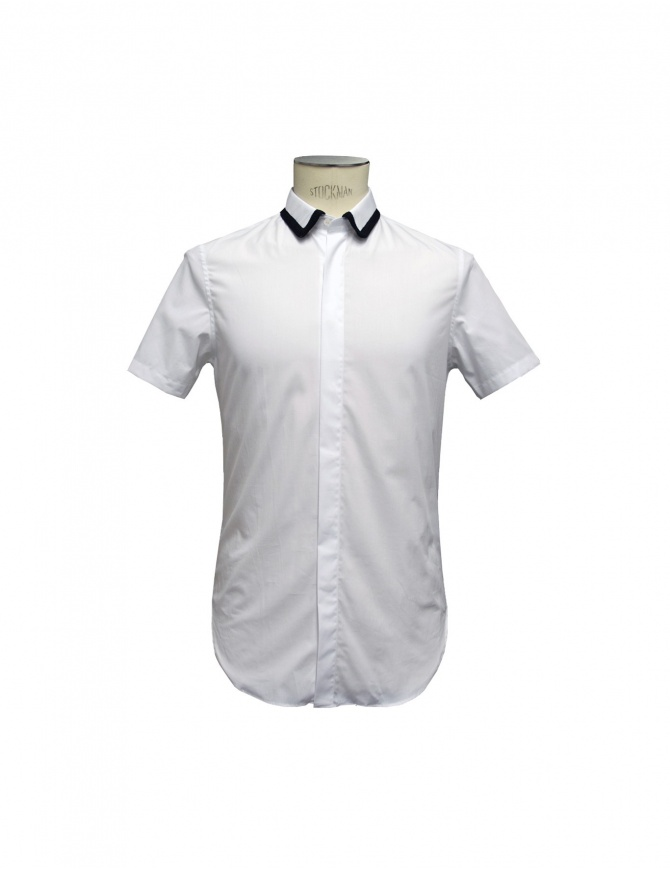 SHIRT CY CHOI short sleeves with knitted collar CA55502AWH00 WHITE mens shirts online shopping