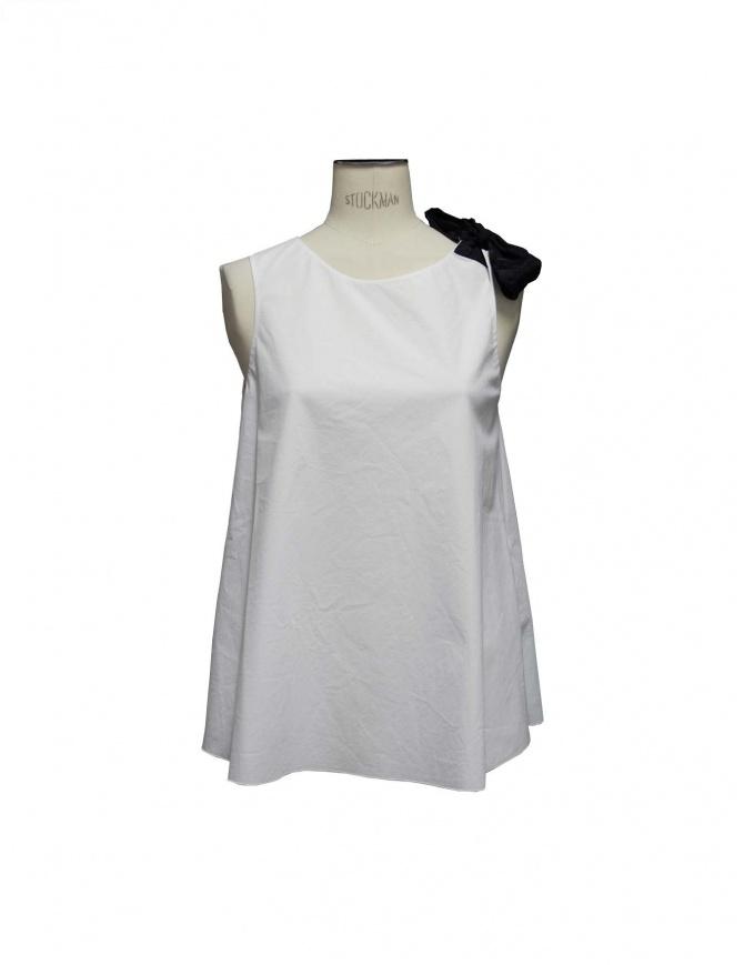 Sara Lanzi white top black ribbon TA1.CO01.1 A/1 women s tops online shopping