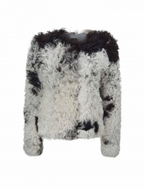 Womens suit jackets online: Utzon balck and white lamb fur jacket