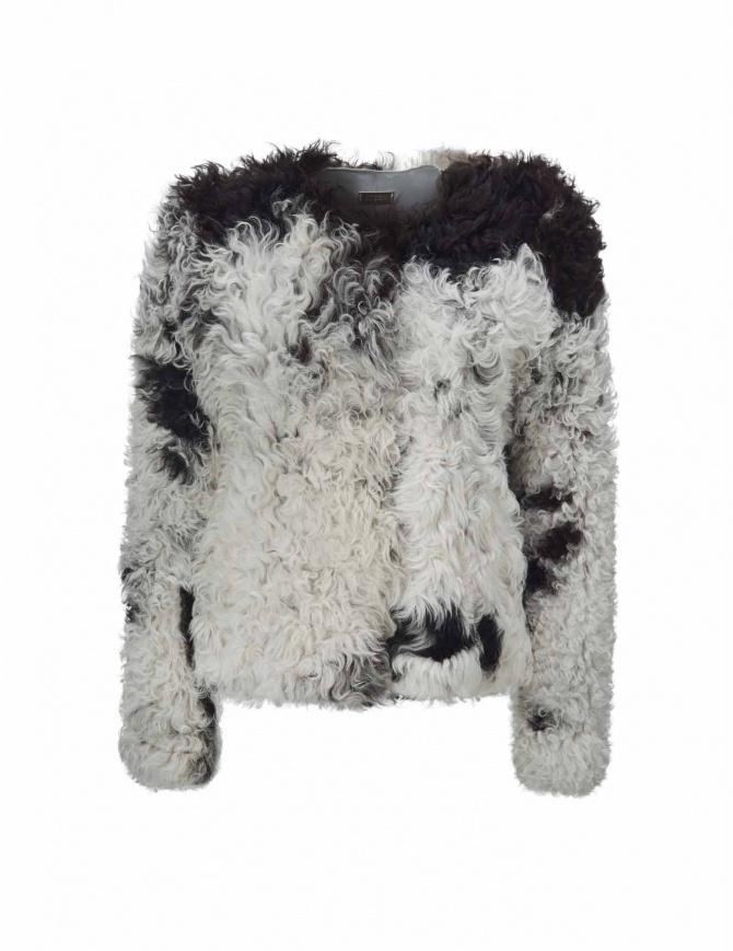 Giacca Utzon in pelliccia di agnello bianca e nera 52156-MON-SP giacche donna online shopping