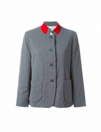 Casey Casey gray wool suit jacket with red collar 05FV53 GREY-RED