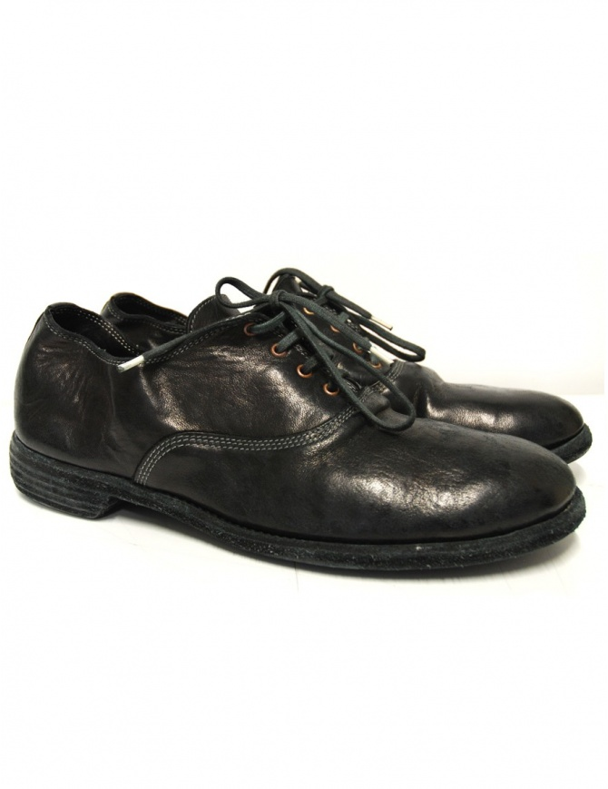 Black leather Guidi 110 shoes 110 HORSE FU mens shoes online shopping