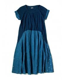 Kapital indigo dress with floral skirt EK-425