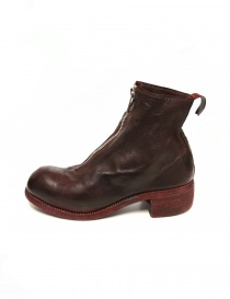 Red calf leather Guidi PL1 lined ankle boots