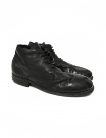 Mens shoes online: Black leather Guidi 994 shoes