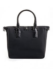 Alligator black leather Tardini shopper online