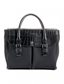 Alligator black leather Tardini shopper briefcase online