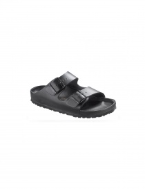 Black leather double stripe women's sandals Birkenstock Monterey online