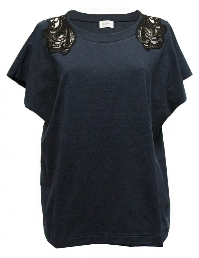 Harikae navy short sleeve sweater SS17H0033-TSHIRT-NA womens knitwear online shopping