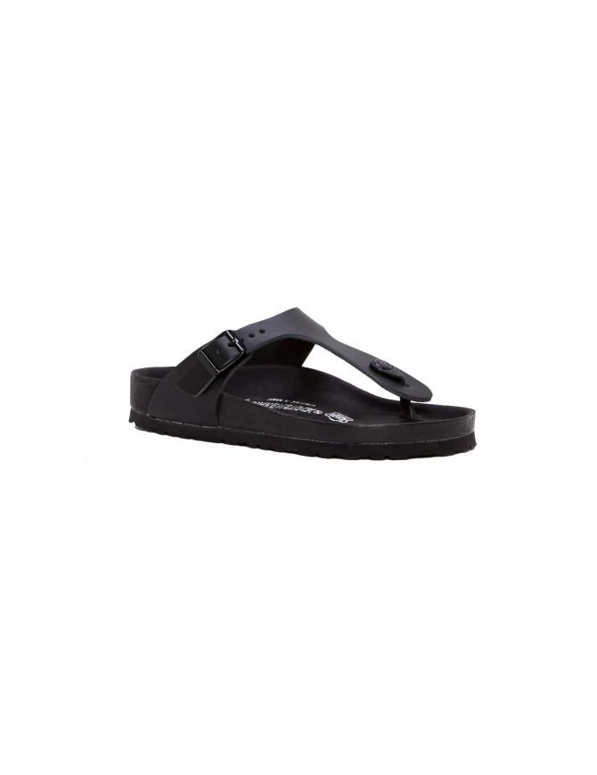 Sandalo infradito Birkenstock Gizeh in pelle nera da uomo 001043553 UOMO calzature uomo online shopping