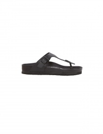 Black leather flip-flop Birkenstock Gizeh for man