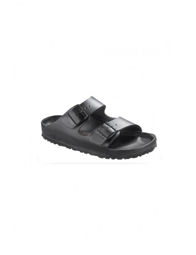 5e9a0e58e6576 Sandalo da uomo due fasce Birkenstock Monterey in pelle nera 001089193 UO  calzature uomo online shopping