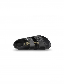 Black leather double stripe men's sandals Birkenstock Monterey buy online