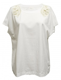 Womens knitwear online: Harikae white short sleeve sweater